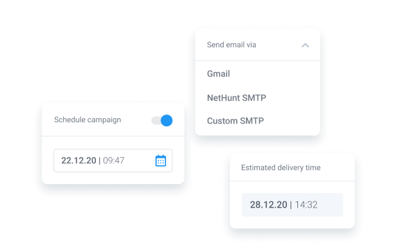 Send campaigns using Gmail or custom SMTP